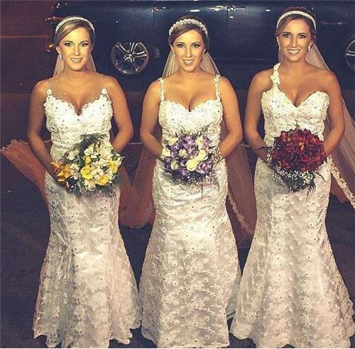 巴西三對新人選在同一天結婚…聽起沒什麼,但是當你看了她們的臉後肯定會以為自己精神錯亂!